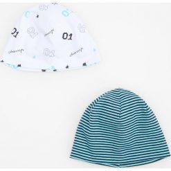 Czapeczki niemowlęce: Czapka we wzory 2 pack – Jasny szar