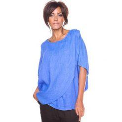 """Bluzki damskie: Lniana koszulka """"Leny"""" w kolorze niebieskim"""