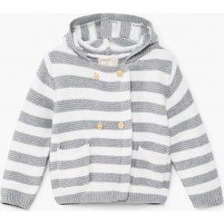 Mango Kids - Kardigan dziecięcy Zebra 62-80 cm. Szare swetry dziewczęce Mango Kids, z motywem zwierzęcym, z bawełny, z kapturem. W wyprzedaży za 39,90 zł.