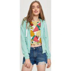 Bluzy rozpinane damskie: Bluza z kapturem - Zielony