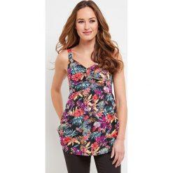 Bluzki damskie: Koszulka z dekoltem w serek, kwiecisty nadruk, cienkie ramiączka