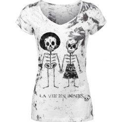 Outer Vision Skeleton Lovers Koszulka damska biały. Białe bluzki asymetryczne Outer Vision, s, z nadrukiem, vintage. Za 79,90 zł.