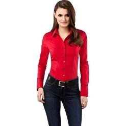 Bluzka w kolorze czerwonym. Czerwone topy sportowe damskie Vincenzo Boretti, z bawełny, z klasycznym kołnierzykiem, z długim rękawem. W wyprzedaży za 339,95 zł.