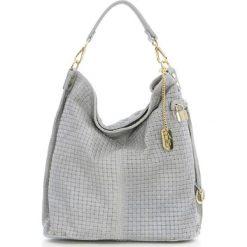 Torebki klasyczne damskie: Skórzana torebka w kolorze jasnoszarym – 42 x 38 x 17 cm