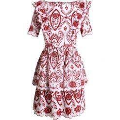 NAF NAF EAST Sukienka letnia ecru/carmin. Czerwone sukienki letnie marki NAF NAF, z bawełny. W wyprzedaży za 399,20 zł.