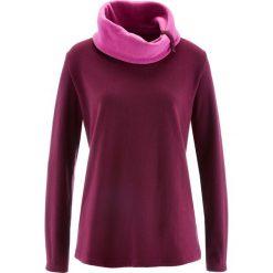 Bluza z polaru, długi rękaw bonprix jeżynowy. Fioletowe bluzy polarowe bonprix, z długim rękawem, długie. Za 54,99 zł.