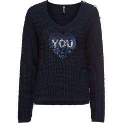 Sweter z cekinami bonprix ciemnoniebiesko-srebrny. Niebieskie swetry rozpinane damskie bonprix. Za 109,99 zł.