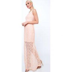 Sukienka koronkowa długa brzoskwiniowa G5282. Pomarańczowe sukienki Fasardi, l, z koronki, z długim rękawem, maxi, oversize. Za 69,00 zł.