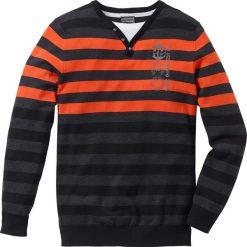 Swetry klasyczne męskie: Sweter Regular Fit bonprix antracytowy melanż- ciemnopomarańczowy w paski