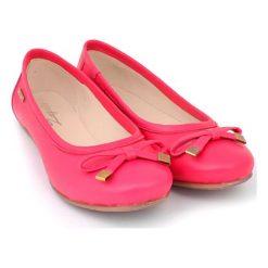 Baleriny damskie lakierowane: Skórzane baleriny w kolorze różowym