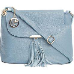 Torebki klasyczne damskie: Skórzana torebka w kolorze błękitnym – 27 x 22 x 10 cm