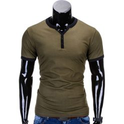 T-SHIRT MĘSKI BEZ NADRUKU S651 - OLIWKOWY. Zielone t-shirty męskie z nadrukiem marki Ombre Clothing, m. Za 29,00 zł.