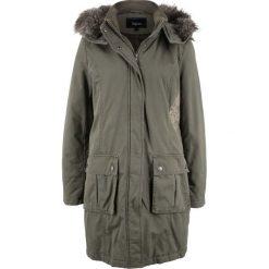 Płaszcz z haftem bonprix ciemnooliwkowy. Zielone płaszcze damskie bonprix, z haftami. Za 269,99 zł.