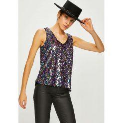 Vero Moda - Top Dolly. Niebieskie topy damskie marki Vero Moda, z bawełny. W wyprzedaży za 89,90 zł.