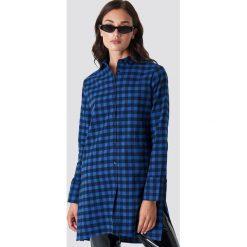 Rut&Circle Długa koszula w kratkę - Blue. Zielone koszule damskie w kratkę marki Rut&Circle, z dzianiny, z okrągłym kołnierzem. Za 161,95 zł.
