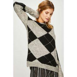 Answear - Sweter. Szare swetry klasyczne damskie ANSWEAR, l, z dzianiny, z okrągłym kołnierzem. Za 149,90 zł.