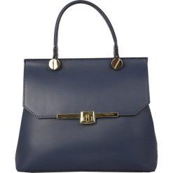 Torebki klasyczne damskie: Skórzana torebka w kolorze granatowym – 28 x 22 x 11 cm