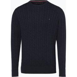 Tommy Hilfiger - Sweter męski, niebieski. Niebieskie swetry klasyczne męskie TOMMY HILFIGER, l, z klasycznym kołnierzykiem. Za 549,95 zł.