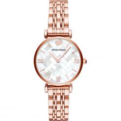 Zegarek EMPORIO ARMANI - Gianni T-Bar AR11110  Rose Gold/Rose Gold. Szare zegarki damskie marki Emporio Armani, l, z nadrukiem, z bawełny, z okrągłym kołnierzem. Za 1419,00 zł.