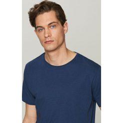 T-shirty męskie: Gładki t-shirt z lnem – Granatowy