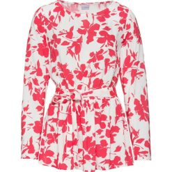 Bluzki damskie: Bluzka z baskinką i wiązanym paskiem bonprix biel wełny - różowy hibiskus z nadrukiem