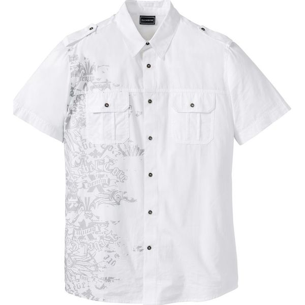 Koszula z krótkim rękawem i nadrukiem bonprix biały z nadrukiem