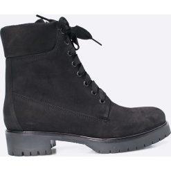 Gino Rossi - Botki. Czarne buty zimowe damskie marki Gino Rossi, z materiału, na obcasie. W wyprzedaży za 419,90 zł.