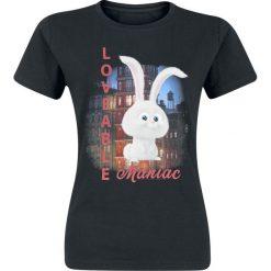 Sekretne Życie Zwierzaków Domowych Loveable Maniac Koszulka damska czarny. Czarne bluzki z egzotycznym wzorem Sekretne Życie Zwierzaków Domowych, s, z okrągłym kołnierzem. Za 74,90 zł.