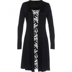 Sukienka shirtowa 2 w 1 bonprix czarno-biel wełny. Czarne sukienki z falbanami marki bonprix, z nadrukiem, z wełny, midi. Za 74,99 zł.
