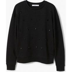 Mango - Bluza Diamond. Czarne bluzy damskie Mango, l, z aplikacjami, z bawełny, bez kaptura. Za 99,90 zł.