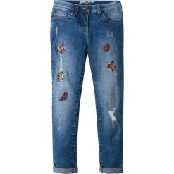 """Dżinsy SKINNY z haftem bonprix niebieski """"stone"""". Niebieskie jeansy dziewczęce bonprix, z aplikacjami. Za 79,99 zł."""