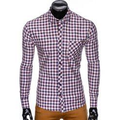 Koszule męskie na spinki: KOSZULA MĘSKA Z DŁUGIM RĘKAWEM K422 – BEŻOWA/CZERWONA
