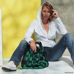 Torba skórzana z wymienną klapą. BOHO GREEN. Zielone torebki klasyczne damskie marki Pakamera, ze skóry. Za 1350,00 zł.