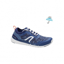 Buty damskie do szybkiego marszu PW580 Waterproof w kolorze granatowo-różowym. Niebieskie buty do fitnessu damskie marki NEWFEEL, z gumy. Za 149,99 zł.