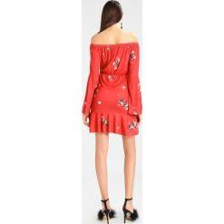 Sukienki: Missguided FLORAL BARDOT LONG SLEEVE MINI DRESS  Sukienka z dżerseju red