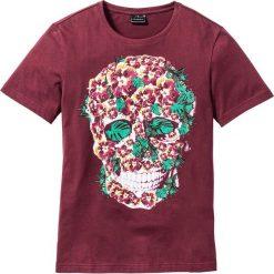 T-shirty męskie: T-shirt Slim Fit bonprix bordowy z nadrukiem