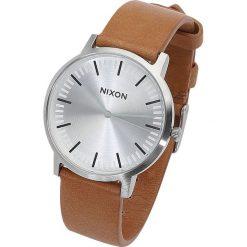 Nixon Porter Leather - Silver / Tan Zegarek na rękę jasnobrązowy. Brązowe zegarki męskie Nixon. Za 489,90 zł.