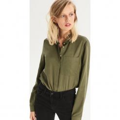 Koszula z lyocellu - Khaki. Brązowe koszule wiązane damskie Sinsay, m, z lyocellu. Za 99,99 zł.