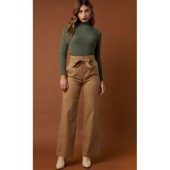 Spodnie z wysokim stanem: NA-KD Trend Szerokie spodnie z wywijanymi nogawkami - Beige