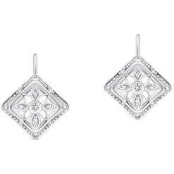 Kolczyki damskie: Zjawiskowe Kolczyki Białe Złoto - złoto białe 585, Diament 0,21ct