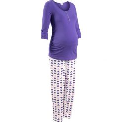 Piżama do karmienia piersią (2 części) bonprix lila-biały z nadrukiem. Fioletowe bielizna ciążowa marki bonprix, z nadrukiem, moda ciążowa. Za 74,99 zł.