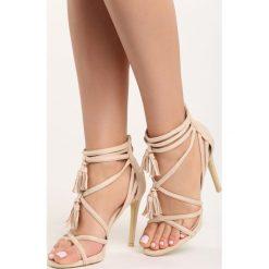 Beżowe Sandały Wiren. Brązowe sandały damskie marki Born2be, w paski, na wysokim obcasie, na stożku. Za 69,99 zł.