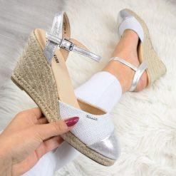 Sandały damskie: Sandały damskie espadryle na koturnie srebrne Big Star AA274588