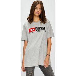 Diesel - Top. Szare topy damskie Diesel, l, z aplikacjami, z bawełny, z okrągłym kołnierzem. W wyprzedaży za 239,90 zł.