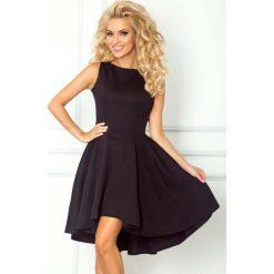 Odzież damska: Czarna Sukienka bez Rękawów z Rozkloszowanym Asymetrycznym Dołem