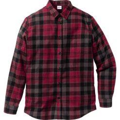 Koszula flanelowa Regular Fit bonprix czerwony klonowy w kratę. Białe koszule męskie na spinki marki bonprix, z klasycznym kołnierzykiem, z długim rękawem. Za 89,99 zł.