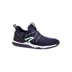 Buty damskie do szybkiego marszu PW 140 w kolorze niebiesko-zielonym. Niebieskie buty do fitnessu damskie marki DOMYOS, z gumy. Za 79,99 zł.