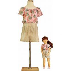 Kombinezony dziewczęce: Kombinezon w kolorze beżowo-jasnoróżowym dla dziecka i lalki