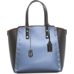 Torebki klasyczne damskie: Skórzana torebka w kolorze niebiesko-czarnym – 34 x 30 x 14 cm