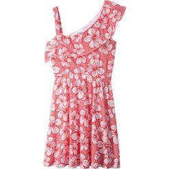 Sukienki dziewczęce: Sukienka z falbaną w dekolcie bonprix biało-czerwony z nadrukiem